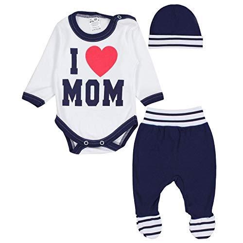 TupTam Baby Kleidung Set Body Strampelhose Mütze Bekleidungsset Jungen Mädchen, Farbe: I Love Mom...