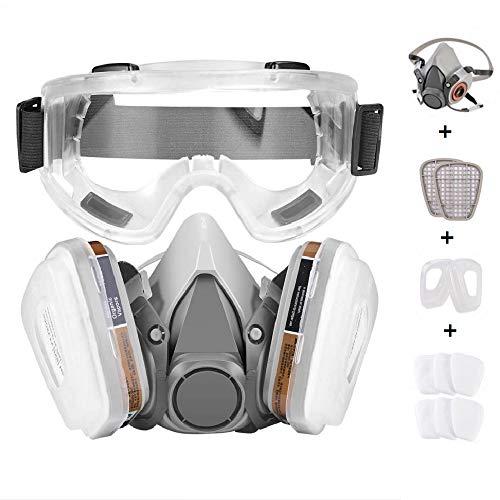Faburo Atemschutzmaske Halbmaske Staubschutz Atemmaske mit Schutzbrille für Staubdicht Sprühfarbe...