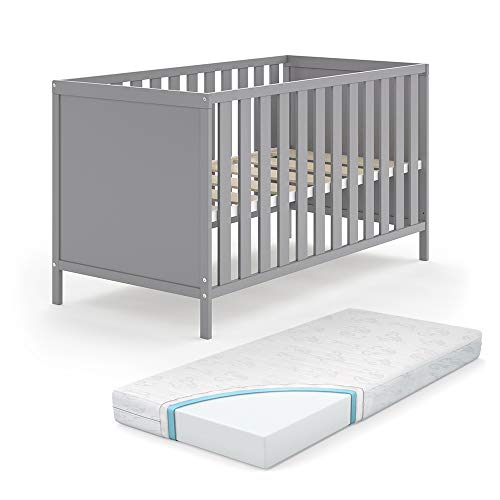 VITALISPA Babybett JONAS 70x140cm Gitterbett Umbaubett Kinderbett umbaubar grau inklusive Matratze