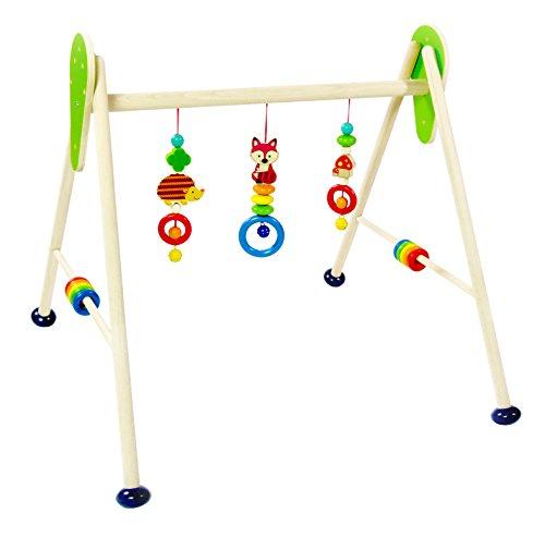 Hess Holzspielzeug 13379 - Spielgerät aus Holz, Serie Waldtiere, für Babys, handgefertigter Spielbogen mit...