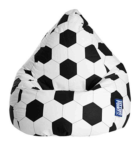lifestyle4living Sitzsack für Kinder, Fussball Motiv, Baumwoll Bezug | Bequemer Sitzsackfussball 100%...