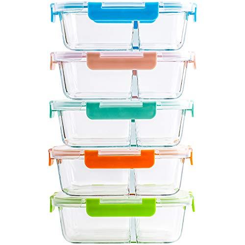 CREST 5-er Set Glas Frischhaltedosen, 2 Fächer, Meal Prep Boxen mit Deckel, Glasbehälter, BPA-frei, perfekt...