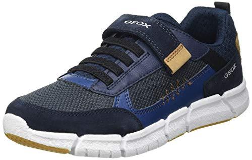 Geox J FLEXYPER Boy B Sneaker, Navy/Cognac, 29 EU