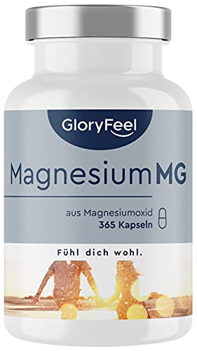 Magnesium - 365 Kapseln (1 Jahr) - 667mg, davon 400mg elementares (reines) Magnesium pro Kapsel - Vegan &...