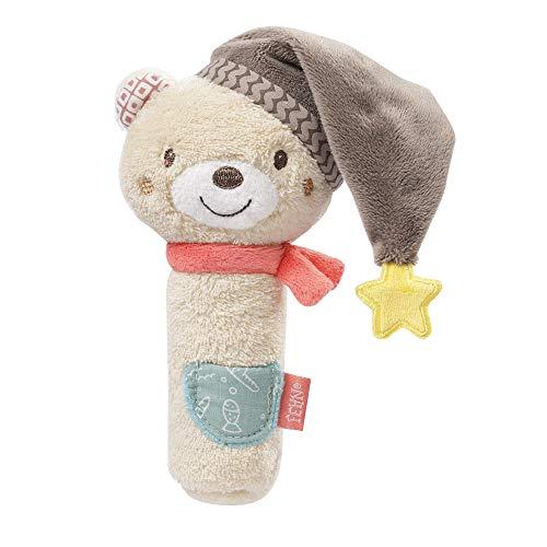 Fehn 060478 Stabgreifling Bär – Stofftier-Begleiter mit Rassel & Quietsche – Für Babys und Kleinkinder...
