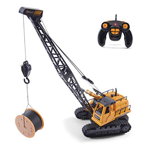 Top Race 12-Kanal-RC-Fernbedienungskran-Traktor, batteriebetriebener Funksteuerungsbaukran mit Licht und Ton....