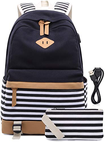 Schulrucksack Mädchen Teenager Streifen Schultasche Segeltuch Rucksack mit 15.6 Zoll Laptopfach mit USB...