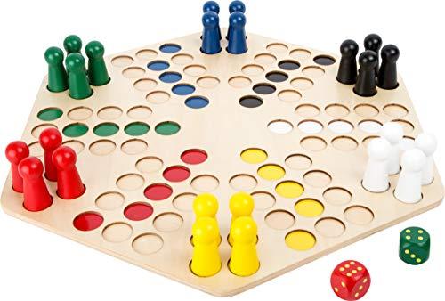 small foot 1800 Ludo für 6 Spieler mit großem Brett aus Holz, Gesellschaftsspiel für die ganze Familie, ab...