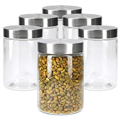 MamboCat 6tlg.-Set Vorratsglas Bera mit Edelstahldeckel Silber I Ø 11 cm I 1.2L I befüllbare Glasdosen I...