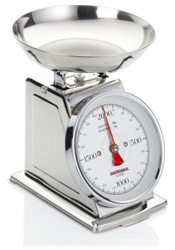 GASTROBACK 30102 Classic Waage, 2 kg mit Tara-Funktion, Küchenwaage, analog, mit Wiegeschale, poliert,...