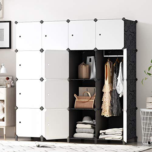PREMAG DIY tragbarer Kleiderschrank, modularer Speicher-Organisator, Raumersparnis Armoire, tieferer Würfel...