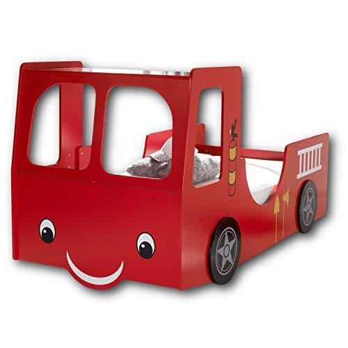 Stella Trading HEAT Feuerwehrbett mit 90 x 200 cm Liegefläche - Aufregendes Auto Kinderbett für kleine...