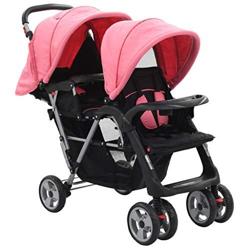 vidaXL Geschwisterwagen Kinderwagen Babywagen Buggy Zwillingswagen Zwillingsbuggy Baby Kleinkinder Rosa...