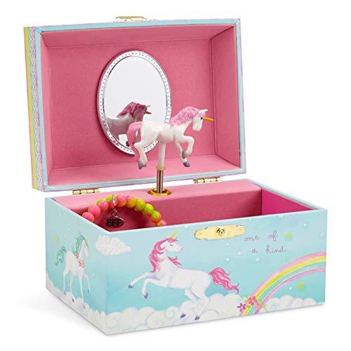 Jewelkeeper - Spieluhr Schmuckkästchen für Mädchen mit drehendem Einhorn, Regenbogen Design - The Unicorn...