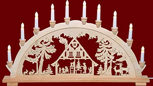 yanka-style XL Schwibbogen Lichterbogen Leuchter Waldhaus ca. 72 cm breit traditionelles Motiv 10flammig...
