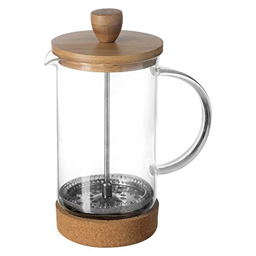 Frenchpress Kaffeedrücker Teepresse Siebstempel-Kanne Glas Bambus Kork 600 ml für 2 Pott Kaffee oder Tee