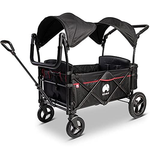 elvent® FamilyStar Premium Bollerwagen - faltbar mit Dach | Sitzpolster, Hecktasche, Feststellbremse,...