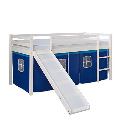 Homestyle4u 1544, Kinderbett 90x200 Weiß, Hochbett mit Rutsche Vorhang Blau, Holz Kiefer