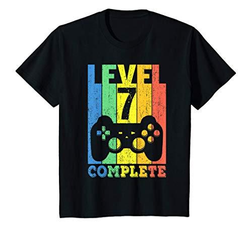 Kinder 7. Geburtstag Junge Mädchen 7-jährig Level 7 Jahre Geschenk T-Shirt
