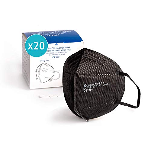 ProPulsan I 20 Stück Atemschutzmaske FFP2 Maske I CE zertifiziert 2834 I einzelverpack im PE-Beutel I schwarz...