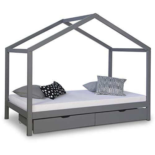 Homestyle4u 1923, Kinderbett Mit Lattenrost, Hausbett 90x200 Grau mit Bettkasten, Holz Kiefer