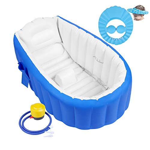 Aufblasbare Badewanne Baby Babybadewanne Babywanne Aufblasbar mit Luftpumpe und Duschhaube für Baby,...