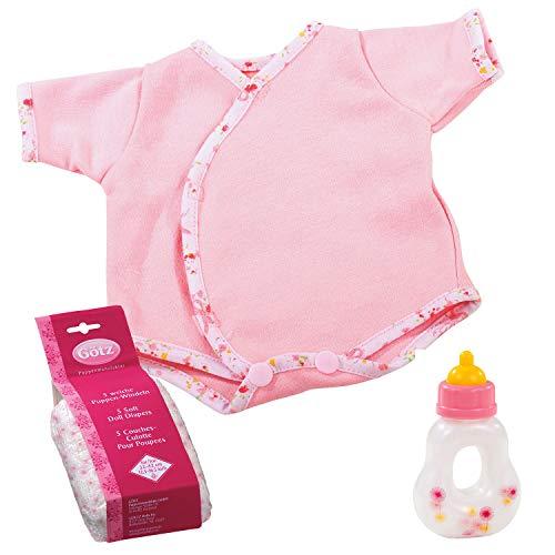 Götz 3403101 Babypuppen First Step Set - Puppenbekleidung Gr. S - 7-teiliges Bekleidungs- und Zubehörset...