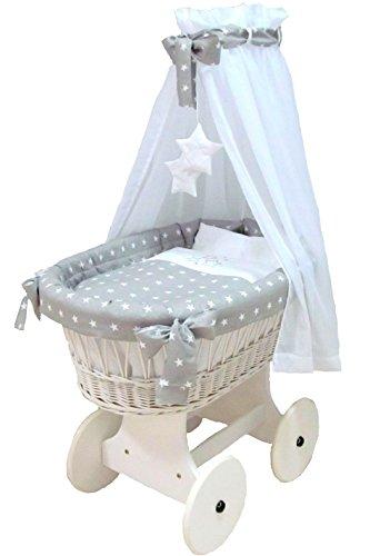 Babymajawelt® Stubenwagen Komplett Set 10 Teile, inkl. Matratze, Bollerwagen mit großen Räder (gummiert)...