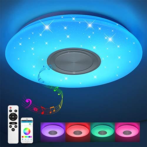 Bluetooth Deckenleuchte 24W Ø 40CM LED Deckenlampe mit Lautsprecher, Fernbedienung und APP-Steuerung, JDONG...