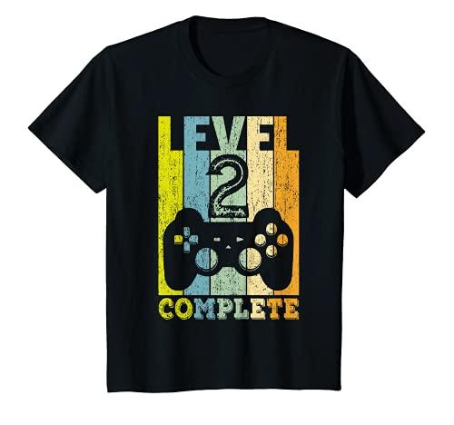 Kinder 2. Geburtstag Junge Mädchen 2-jährig Level 2 Jahre Geschenk T-Shirt