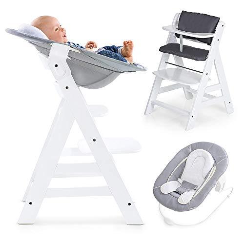 Hauck Alpha Newborn Set - Baby Holz Hochstuhl ab Geburt mit Liegefunktion inkl. Aufsatz für Neugeborene und...