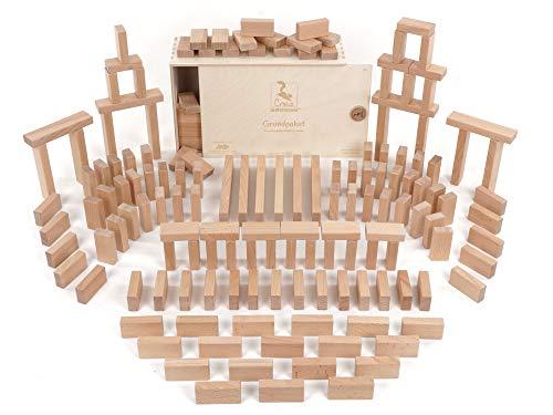 CreaBLOCKS Holzbausteine Grundpaket (156 unbehandelte Bauklötze) (in der Schiebedeckelkiste) Made in Germany