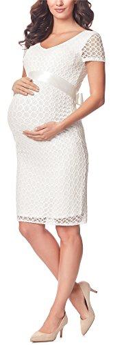 Be Mammy Damen Umstandskleid festlich aus Spitze Kurze Ärmel Maternity Schwangerschaftskleid BE20-162 (Ecru2,...