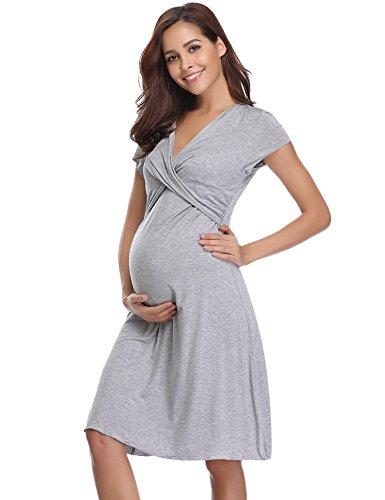 Hawiton Damen Umstandkleid Still-Nachthemd für Schwangerschafts Kleid Kurz V Ausschnitt mit Wickeloptik Grau...