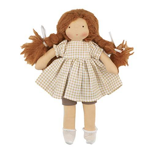 Walkiddy Waldorfpuppe Stoffpuppe Organic Bio Puppe Natur 25 cm Anna mit Schurwolle