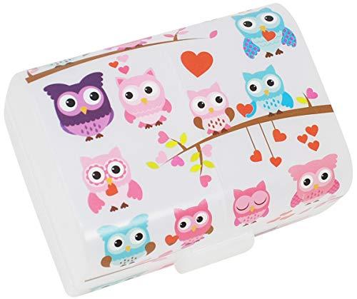 com-four® Brotdose'Eulen' für unterwegs - Lunchbox mit 3 Fächern - Frühstücksbox 17 x 13 x 10 cm (001...