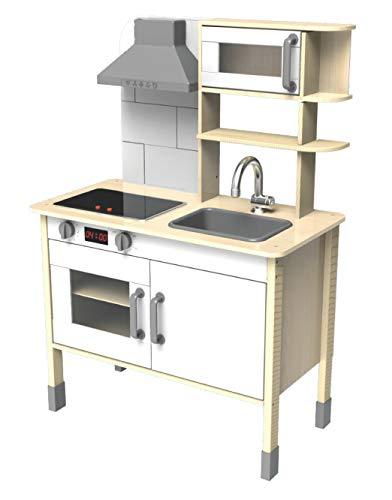 Eichhorn 100002494 - Spielküche aus Holz, Herd mit leuchtenden Herdplatten, Spüle, Backofen und Dunstabzug,...