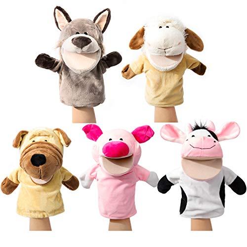Tier Handpuppen Bauernhof Mit beweglichem offenem Mund Plüsch so tun als ob Spielzeuge Perfekt zum...