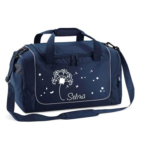 Mein Zwergenland Sporttasche Kinder personalisierbar 38L, Kindersporttasche mit Name und Pusteblume Bedruckt...