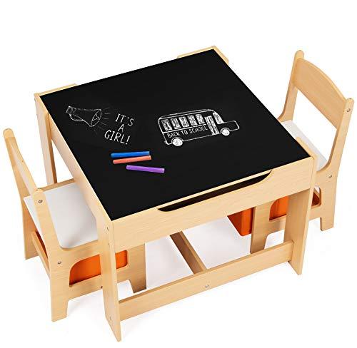 DREAMADE Multifunktionale Kindersitzgruppe, Kindertisch mit 2 Stühle & 2 Aufbewahrungsboxen für...