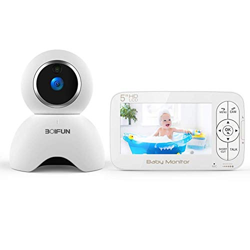 Babyphone mit kamera 720P, Video Überwachung mit 5.0 Zoll HD LCD Bildschirm, Baby Monitor, PTZ, Dual Audio,...