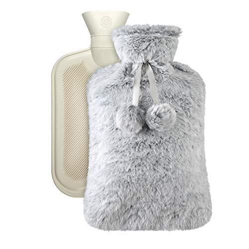 Vicloon Wärmflasche, 1.8L Bettflasche mit Bezug, Weiche Flaum Wärmeflasche, Bequem, Sicherheit,...