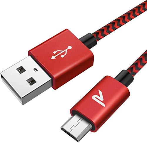 Rampow Micro USB Ladekabel, 2M/ 1-Stück, mit Nylon geflochtenes Micro USB Schnellladekal geeignet für...