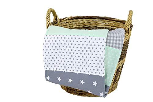 ULLENBOOM ® Babydecke 70x100 cm Mint Grau (Made in EU) - Baby Kuscheldecke aus ÖkoTex Baumwolle & Fleece,...