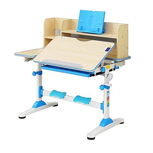 Style home Kinderschreibtisch höhenverstellbar neigbar, Schülerschreibtisch mit Bücherregal und Schublade,...