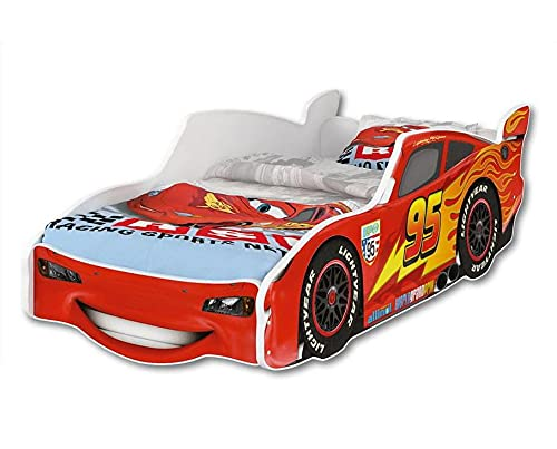 iGlobal Kinderbett Zig Zag Lightning McQueen Autobett in Rot, mit Lattenrost und Matratze, ab 2 Jahre, L 156 x...
