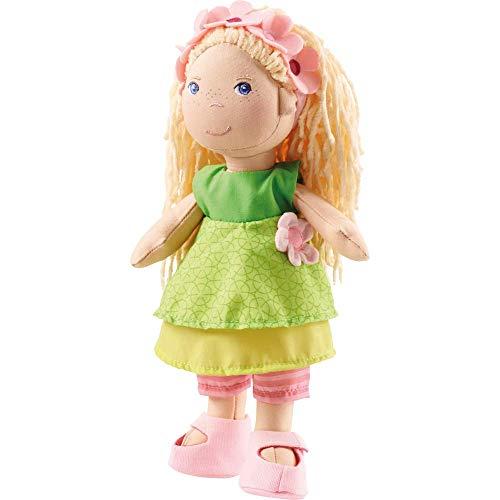 HABA 2141 Puppe Mali, 30cm, niedliche Weich-und Stoffpuppe ab 18 Monaten, mit Kleidung und Langen Haaren