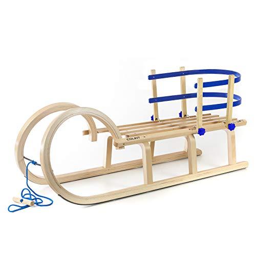 Holzfee Colint Baran 110 RL Blue Schlitten Set Hörnerschlitten Hörnerrodel mit Rückenlehne Blau + Zugseil