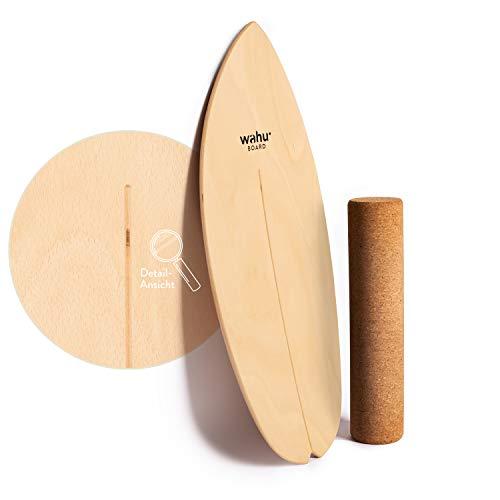 WAHU- Balanceboard (Natur) - Trickboard mit einzigartigem Rocker Shape inkl. Rolle - Balance Trainer (100%...