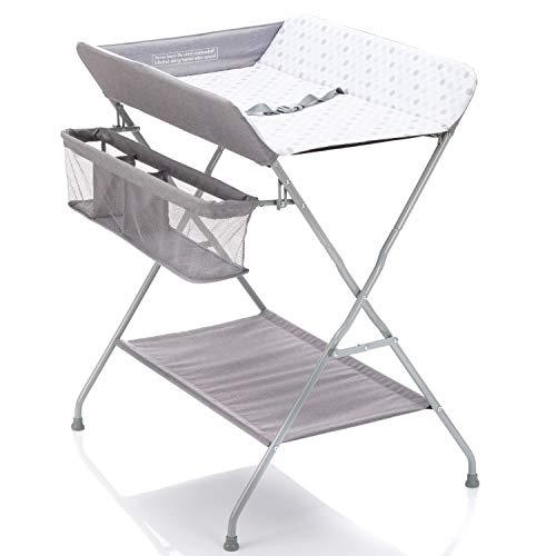 Fillikid Baby Wickelkombi - klappbare Wickelkommode, mobiler Wickeltisch mit Wickelauflage, Sicherheitsgurt...